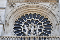 Notre dame facade statue detail Royalty Free Stock Photography