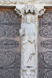 Notre dame facade statue detail Royalty Free Stock Image