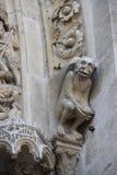 Notre dame facade statue detail Stock Photos