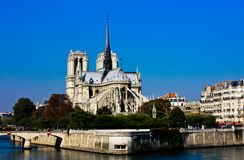 Notre Dame with a flawless blue sky Stock Images