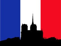 Notre Dame and French Flag. Silhouette of Notre Dame and French Flag Royalty Free Stock Images