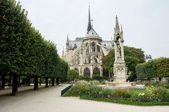 Notre Dame garden. Beautiful garden of Notre Dame cathedral in Paris, France Royalty Free Stock Images