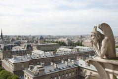 Notre Dame Gargoyle över Paris Royaltyfria Bilder
