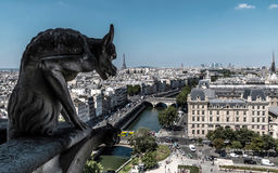 Gargoyle at Notre Dame. Looking over city of Paris royalty free stock image