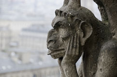 Notre Dame Gargoyle. A gargoyle perched on top of the Notre Dame Cathedral in Paris France Stock Photo