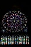 Notre Dame-gebrandschilderd glasvenster Stock Afbeelding