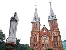 Notre Dame in Ho Chi Minh City, Vietnam. Notre Dame with Virgin Mary in front in Ho Chi Minh City, Vietnam  ( Horizontal Stock Photo