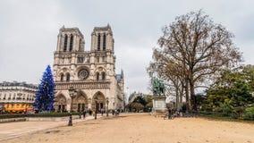 Notre-Dame katedra podczas zim bożych narodzeń Zdjęcia Royalty Free