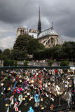 Notre Dame and locks Stock Photography