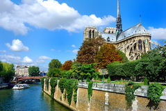 Notre Dame med fartyget på Seine Royaltyfria Bilder