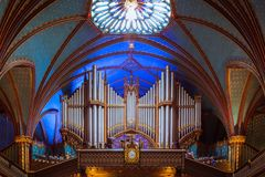 Notre Dame Montreal, organo immagine stock
