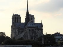 Notre Dame, the most beautiful Cathedral in Paris. View from the river Seine, France royalty free stock photo