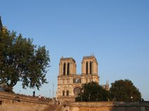 Notre Dame, the most beautiful Cathedral in Paris. View from the river Seine, France stock photo