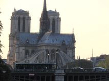 Notre Dame, the most beautiful Cathedral in Paris. View from the river Seine, France stock image