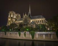 Notre-Dame na noite imagens de stock