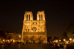 Notre Dame at night. Notre Dame cathedral facade at night in Paris, France Stock Photography