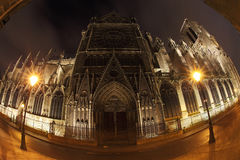 Notre Dame in night with fisheye on Paris Stock Photos