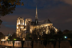 Notre Dame night illuminated Royalty Free Stock Photo