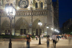 Notre Dame at night. Stock Photo