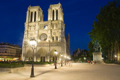 Notre Dame at night. Stock Photos