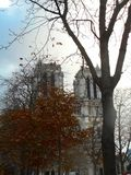Notre Dame in November royalty free stock photography