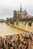 Notre-Dame padlock bridge Royalty Free Stock Photo