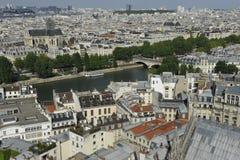 Notre Dame panoramautsikt, Paris Arkivbild
