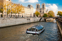 Notre Dame, Paris. View from Seine river Stock Photography