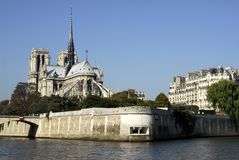 Notre Dame of Paris. With the seine and building Royalty Free Stock Images