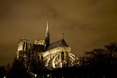 Notre Dame, Paris. The Notre Dame cathedral at night, Paris royalty free stock images