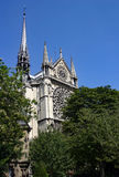 Notre Dame Paris. Capturing the rose window and spire of the cathedral Stock Images