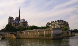 Notre dame of paris cathedral. On the cite island in france Stock Images