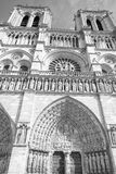 Notre dame paris cathedral external view in black and white Royalty Free Stock Photo