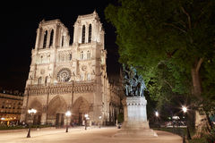 Notre Dame, Paris cathedral at night Royalty Free Stock Photography