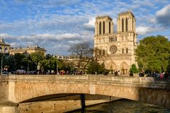 Notre Dame Paris facade in sunset royalty free stock photo