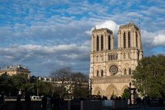 Notre Dame Paris facade in sunset stock photo