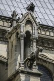 Notre Dame of Paris, France, ancient statue on roof, gargoyle royalty free stock photos