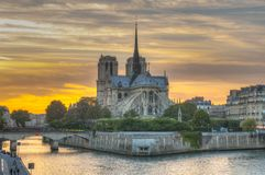 Notre Dame, Paris, France. HDR image of sunset over Notre Dame, Paris, France Stock Photo