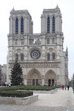 Notre Dame Paris. PARIS, FRANCE - JANUARY 06: Notre Dame Cathedral in Paris on JANUARY 06, 2010. Famous French Gothic Roman Catholic Church with Big Christmas Royalty Free Stock Photos