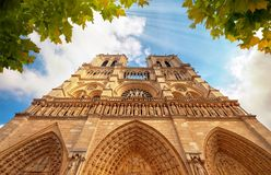 Notre-Dame Cathedral in Paris France with Golden Light Rays. Notre Dame in Paris France. Notre Dame Cathedral with Golden Light Rays and Beautiful Gothic stock images
