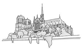 Notre Dame Paris, Hand Drawn Sketch vector illustration