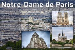 Notre Dame info. Notre Dame, Paris - info and history sheet for social media royalty free stock images
