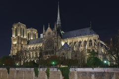 Notre dame of Paris at night Stock Photography