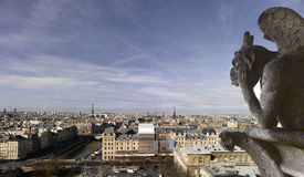 Notre Dame of Paris - Panoramic view with Chimera Stock Photo
