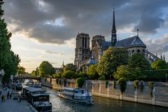 Notre Dame Paris roof with the river Seine in sunset stock photos