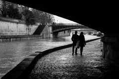 Notre-Dame from Paris with Sena in winter. Couple walking stock images