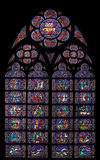 Notre Dame of Paris Stained Glass Window stock photos
