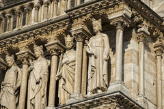 Notre dame paris statues and gargoyles Royalty Free Stock Images