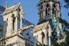 Notre dame paris statues and gargoyles Stock Photos