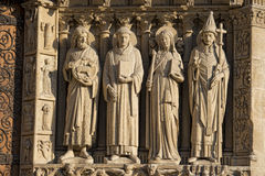 Notre dame paris statues and gargoyles Royalty Free Stock Photos